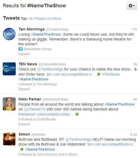Ten name the show tweets